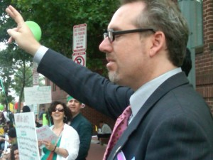 Paul Kawika Martin at a pro-democracy rally in front of the Iranian interests section in Washington, DC attended by nearly 1,000 Iranians