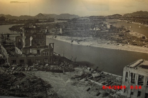 Photo in the Hiroshima Peace Museum showing the devastation after the bombing
