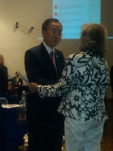 UN Secretary-General Ban Ki-Moon welcomes Peace Action's Judy Lerner