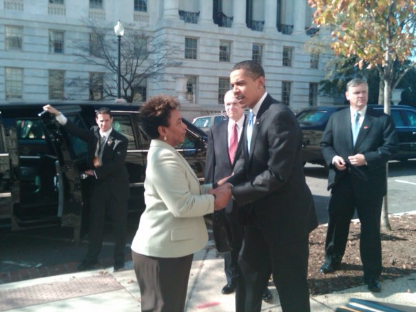 Rep. Barbara Lee (D-CA) talks with President Obama. Photo courtesy of Rep. Lee's Facebook page