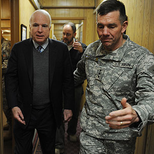 General Caldwell and one of his psy ops targets. (photo courtesy of Rolling Stone via AP)