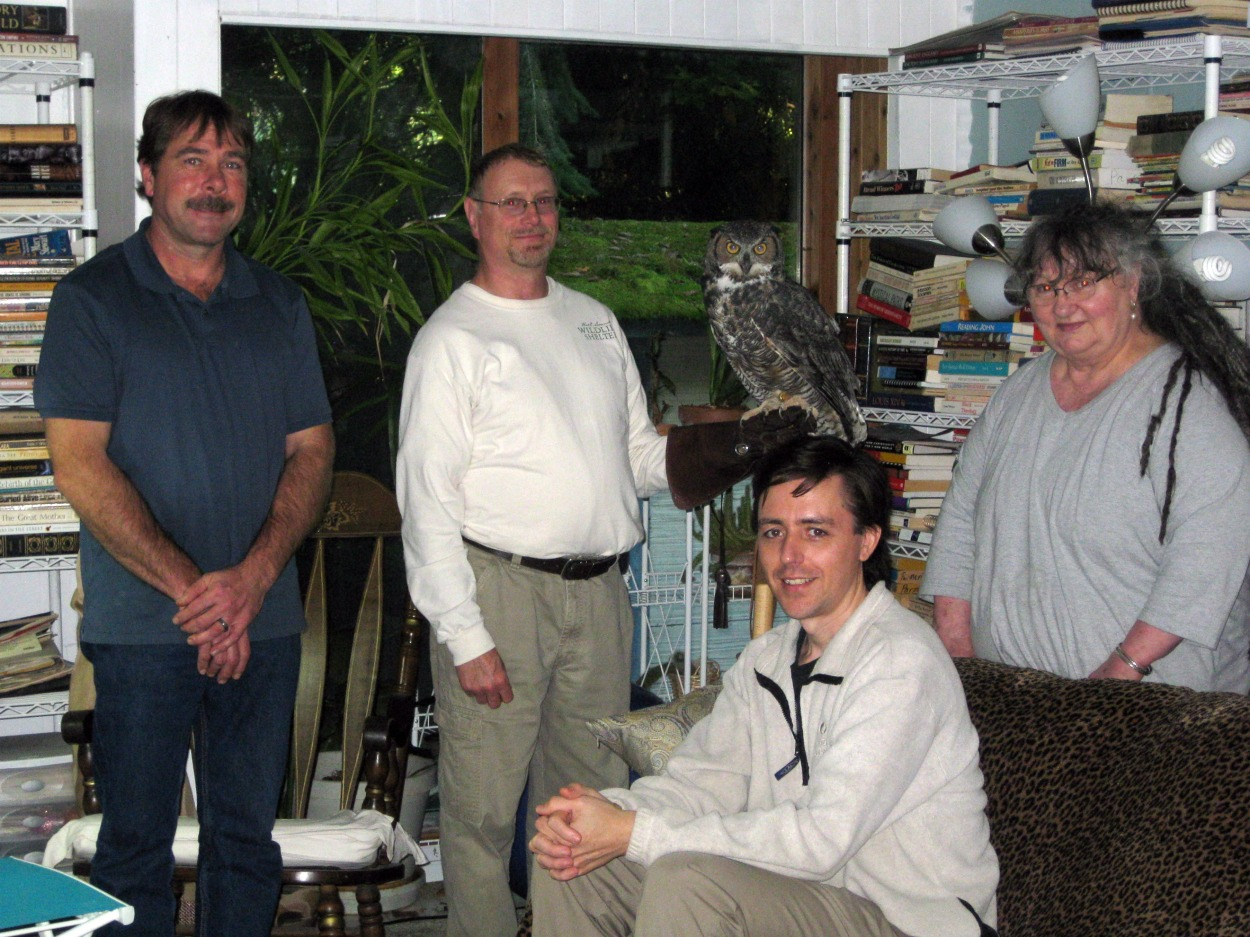 Casey, Michael, Kol, Mary and Orion the Great Horned Owl