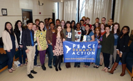 Peace Action Binghamton University (NY) April 15, 2013 Cup of Peace Song event.
