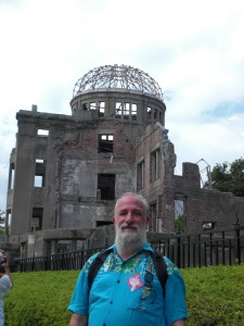 "Peace Action Development Director Peter Deccy at the ""A-Bomb Dome"" in Hiroshima"