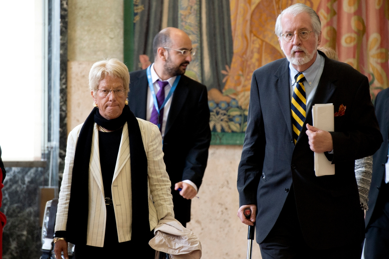 Paulo Sérgio Pinheiro (right), Chairman of the Independent International Commission of Inquiry on the Syrian Arab Republic, and Carla del Ponte, member of Commission, arrive at a press conference after briefing the twenty-fourth Session of the Human Rights Council on their latest report.