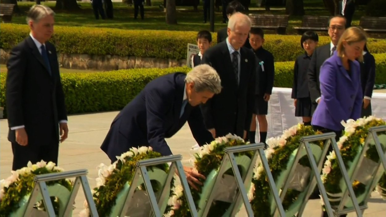 U.S. Secretary of State John Kerry has become the first sitting secretary of state to visit the revered memorial to the nuclear bombing of Hiroshima.