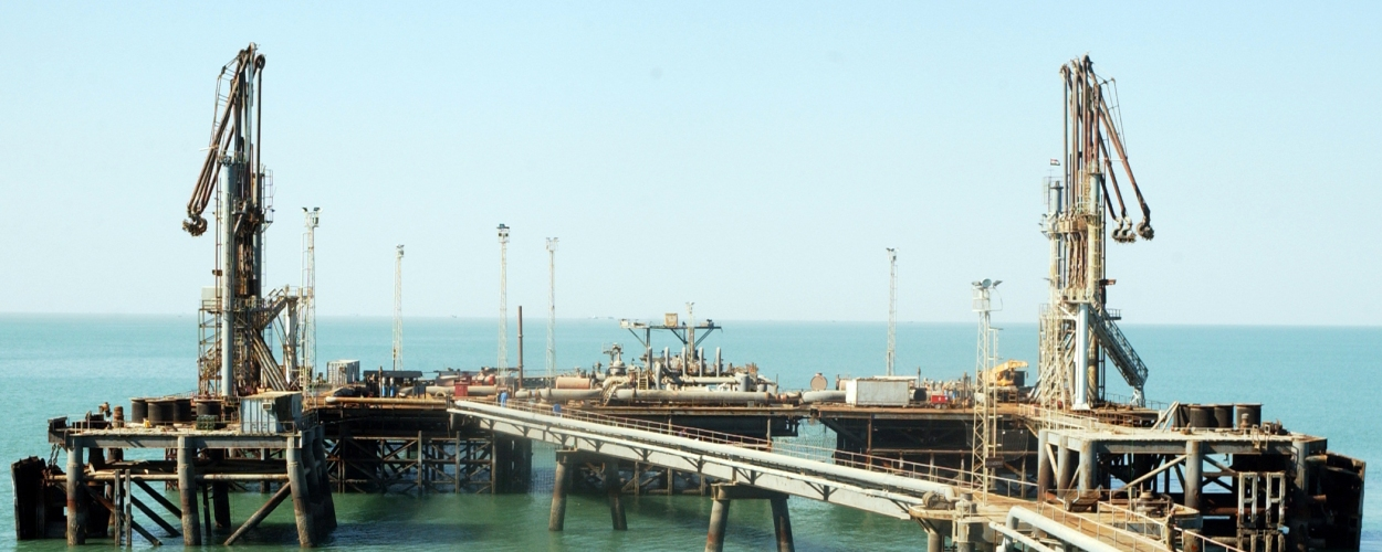 051111-N-9362D-008 Persian Gulf (Nov. 11, 2005) – An overall view of the Khawr Al Arnaya Oil Terminal (KAAOT). The terminal, located off the coast of Iraq, is one of two major platforms that export the majority of the country's oil. Coalition forces have been training Iraqi personnel in force protection and search and seizure operations in effort to turn over the oil terminals in the area to Iraq.  U.S. Navy photo by Photographer's Mate 3rd Class Randall Damm (RELEASED)